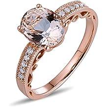 Epinki 18k Oro Anillos para Mujer óvalo Anillo de Diamante Anillos Compromiso con Claro Marrón Diamante