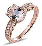 Epinki 18k Oro Donna Ovale Anello Solitaire Anello Promettere Rose con Marrone Diamante Rosa Berillo Taglia 8