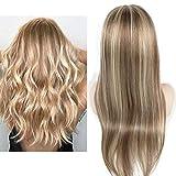 Mila Perucken Echthaar 100% Human Hair Full Lace Wig Haar Blond Highlight mit Hellbraun 10/613# Preplucked Hairline with Baby Hair 20inch/50cm