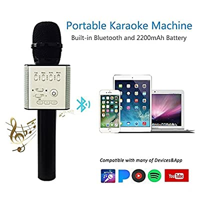 ?Upgraded Version?Q9 Magic Karaoke Wireless Microphone With Bluetooth Speaker For Apple iPhone Android Smartphone (Black)