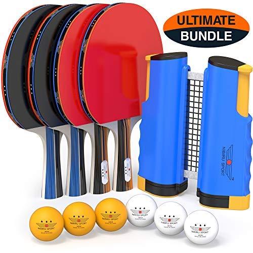 NIBIRU SPORT Professionelles Ping-Pong-Paddel-Set mit einziehbarem Netz, Bällen und Pfosten (3-Sterne) Regulierung Tischtennis-Zubehör für Fortgeschrittene Zuhause oder draußen, Aufbewahrungskoffer - 4 Clips Sperrholz 3