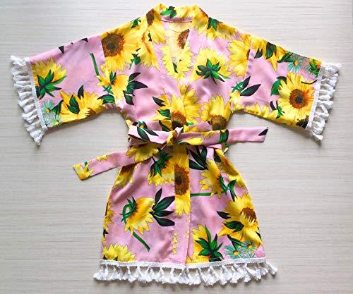 sonne blume rosa blumen mädchen gewand - baby robe mit spitze trim blumenmädchen gewand blumenmädchen geschenk babyparty geschenk - rayon stoff