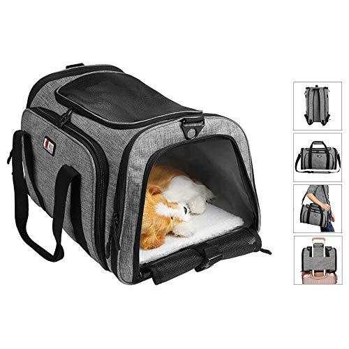 Haustier Tragerucksack Airline Approved Pet Carrier Reise Transport Box für Hunde Katzen, 4 IN 1 Rucksäcke Umhängetasche Handtasche Reisetaschen für Auto Haustiere Kleintieren Welpen 40×25,5×21cm