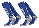 FussFreunde, 2 Paar warme PistenSauser Skisocken zum Preis von einem Paar (39-42, BLUE)