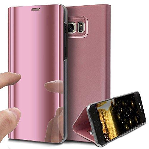 CMTECH Galaxy S6 Edge Hülle Spiegel Leder