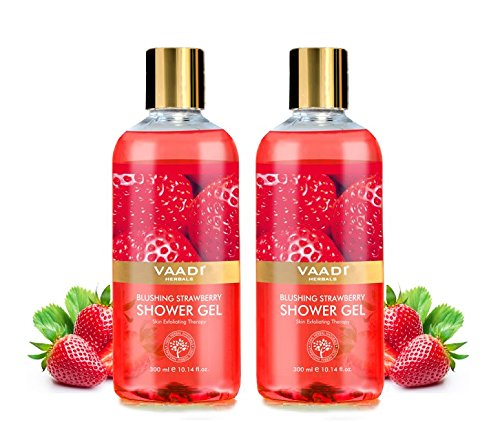 Vaadi Herbals Shower gel - anti Aging sulfate Free - Herbal Body wash-out both for Men and Women - 300 ml Vaadi Herbals (Blushing Strawberry) (2 Bottles) (Gel Herbal Wash Body)