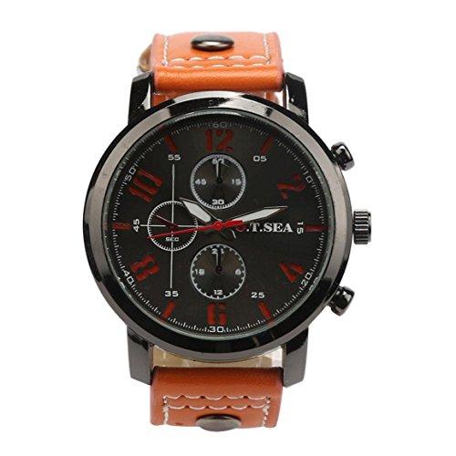 Mode Watches,Moonuy Männer Herren Fashion Hot Herren Sport Quarzuhren Herrenuhren Luxus Leder Armbanduhren (Orange)
