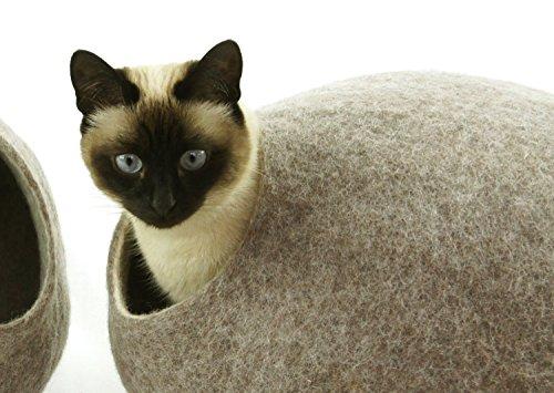 Preisvergleich Produktbild Katzenhaus / Bett / Betthöhle, handgefertigt aus natürlichen, ökologischen Wolle. Farbe Sandbraun. Größe L