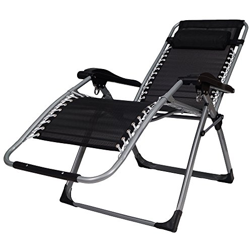 Story@Home Zero Gravity Adjustable Folding Lounge Rocking Chair, Black