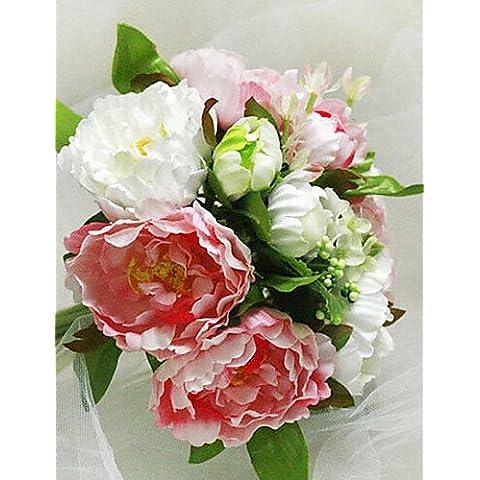 En la decoración del hogar de flores artificiales, un ramo de 10 Rosas de simulación de tela de seda Boda Boda Ramo de novia sosteniendo flores rosadas y blancas