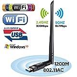 Adattatore WiFi 1200 Mbit/s Dual Band (5G/866Mbps + 2.4 G/300Mbps) 5dBi Antenna WLAN Stick Wlan Adapter USB 3.0 ,Wireless Dongle Wifi per Desktop/PC/Laptop Windows 10/8.1/8/7/XP/Vista MAC OS Boluomi