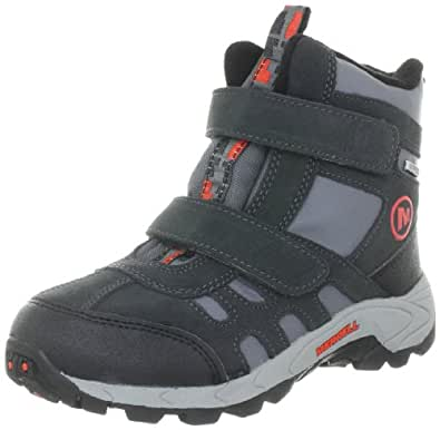 Merrell Moab Polar Mid Strap, Unisex Kid's Hook and Loop Trekking and Hiking Boots - Black (Granite), 13 UK