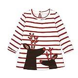 Baby Mädchen Prinzessin Kleid Cartoon Tiere Lange Ärmel/Kurzarm T-Shirt Jerseykleid mit Streifen Crewneck Kleid (100, Rot - Elch)