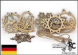 molinoRC 6X Fensterbild Holz | Holzanhänger | Weihnachtsschmuck | Christbaumanhänger | Holz Anhänger | Fensterdeko Weihnachten | Schneeflocke | Rentier | Kerzen | Glocke | 8cm Durchmesser
