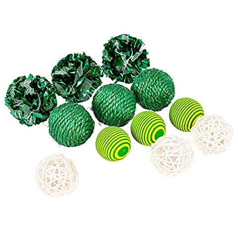 Blueberry Pet Toys For Cat Fancy Green Color Balls Cat Toy - 12-piece Pack