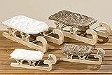Tamia-Home 2er Weihnachtsdeko Deko-Schlitten Winterdeko Holz L26-42cm (Schlitten Rika 1001082 braun)
