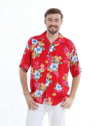 Hawaii-Hangover-Camisa-hawaiana-de-los-hombres-Camisa-Hawaiana-M-Rojo-del-hibisco