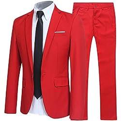 Allthemen - Traje - para Hombre Rojo M