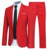Allthemen Herren 2-Teilig Slim FIT Business Anzug Rot M