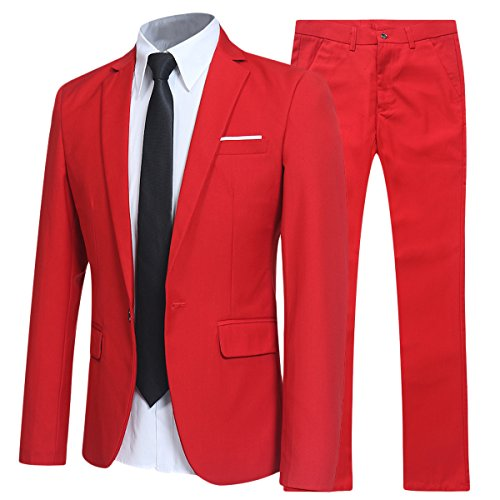 (Allthemen Herren 2-Teilig Slim FIT Business Anzug Rot Large)