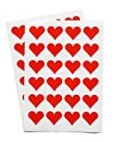 48 adesivi a forma di cuore, colore: rosso