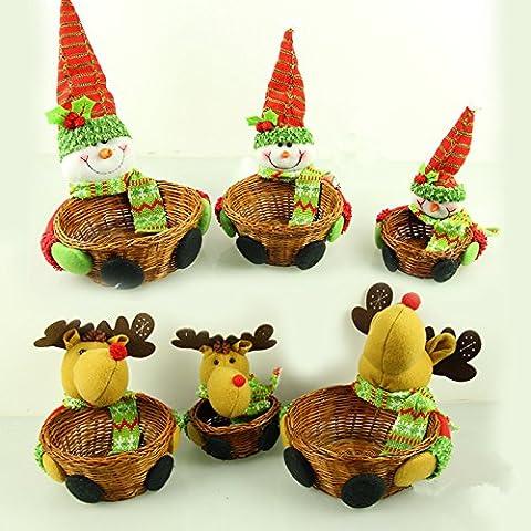 Cestino di natale ornamento tre pezzo caramelle cesto deposito cervi di Babbo Natale pupazzo di neve decorazioni di Natale,Pupazzo di neve di Natale