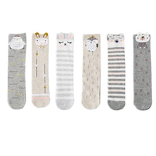 VWU Unisex Kinder Mädchen Jungen Tier Tube Strumpf Kniestrümpfe Socken Baumwolle 6er Pack 3-12 Jahre (Cartoon 1) (Tube Strümpfe)