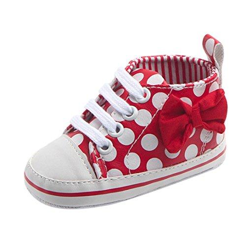 FNKDOR Baby Mädchen Mode Sneaker Bowknot Dot Print Lace-Up Anti-Rutsch-Schuhe Sneaker(8-12 Monate,Rot) (Print-innensohle)