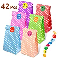 Syolee Toy 42 Pcs Paper Party Bags Kraft Gift Bags Lunch Grocery Bags Craft Party Favor with 50 Pieces Label Stickers 6 Colors