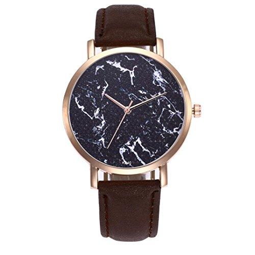 PLOT Armbanduhren Für Frauen Modisch Damen | Tinte Drucken Uhr | Damen Uhren Lederarmband | Damen Quarzuhr | Geschenke Für Frauen | Damen Uhren Billig | Quarzwerk Uhr (Kaffee 1) (Einfach Tinte)