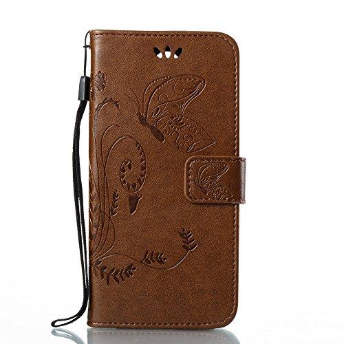 Solid Color Faux Leder Bookstyle Brieftasche Stand Case mit geprägten Blumen & Lanyard & Card Slots für LG K8 2017 European Edition ( Color : Coffee ) Coffee