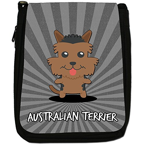 Australiano Cartoon cani medium nero borsa in tela, taglia M Australian Terrier, Aussie