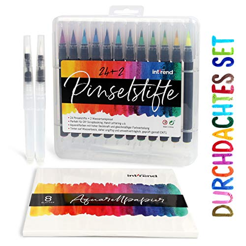 Pinselstifte Set inkl. Aquarellpapier - 3