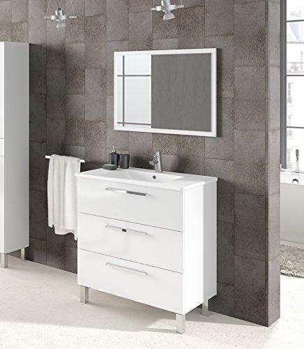 Abitti Mueble Lavabo de baño o Aseo con Espejo, Marco a Juego y lavamanos cerámico Incluido, 3 Zonas de Almacenamiento Color Blanco Brillo. 86X80x45cm