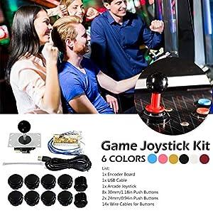 Househome Arcade Joystick DIY Kit Zero Delay Spiel USB Encoder PC Joystick Computerspiel + 8 Arcade-Taste für Mame Jamma + Kabelbaum + 6 Farbe