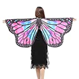 SHOBDW Butterfly Shawl, Women Girls Pretty Butterfly Wings Halloween Shawl Scarves Nymph Pixie Poncho Party Cosplay Costume Accessory (#1, Hot Pink-A (147x70cm))