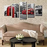 AXYXS Moderno HD Impreso Arte De La Pared Lienzo Fotos 5 Piezas Londres Street Scene Red Bus Reino Unido Ciudad Edificios Antiguos Pintura Pintura Posters(Sin Marco)