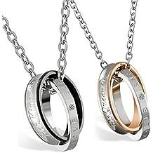 flongo 2 pieza Partner colgante collar, cadena de acero inoxidable Collar