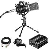 Neewer Microfono a Condensatore Audio Professionale con Supporto Anti-vibrazione, Alimentatore 48V Phantom, Cavo XLR 3 Pin, Mini Treppiedi da Tavolo in Ferro, per Registrazioni Audio e Trasmissioni a Casa (Nero)