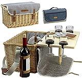 HappyPicnic Picknickkorb für 4, 4 Personen Picknick-Kit, Weiden-Geschenkkorb Service Geschenk Set mit Bambus Wein Snack Tisch für Camping und Outdoor Party MEHRWEG