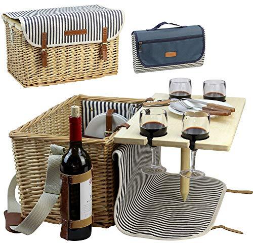 Picknick-tisch-kit (HappyPicnic Picknickkorb für 4, 4 Personen Picknick-Kit, Weiden-Geschenkkorb Service Geschenk Set mit Bambus Wein Snack Tisch für Camping und Outdoor Party MEHRWEG)
