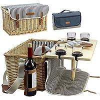 Cestino da picnic in vimini per 4, kit da picnic per 4 persone, salice, servizio set regalo con bambù vino snack tavola per campeggio e party