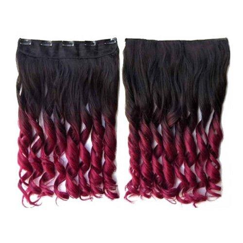Synthetische Haarverlaengerungen - SODIAL(R)Bunte Haarverlaengerungen 130g 60 cm/ 24 Zoll Hitzebestaendige Fantastische Synthetische Lange Klipp Haarverlaengerungen Damen Haar 5 Clips 1 Stueck Haarverlaengerungen (Lockig, Schwarz + Weinrot)