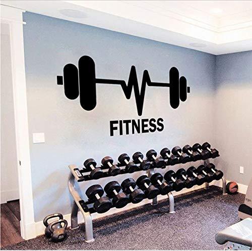 Fitness Gymnasium Wandaufkleber Ausgangsdekor Gym Sport Wandtattoo Fitness Gewichtheben Barbells Wandbild Body Power Decor 42X25 Cm - Girl-power Grenzen