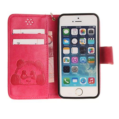 iPhone 5 SE 5S Custodia in pelle,iPhone 5S Cover Portafoglio Elegante,Felfy Puro Colore Premium Simpatico Panda Stampato Modello Copertura di Vibrazione pelle a Libro Bookcase Pieghevole pelle Cover c Panda Rosa caldo