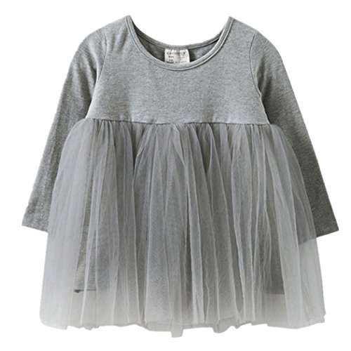Mädchen Kleider, L'ananas Kleinkind Baby Kids Tutu Runder Kragen Langarm Voile Baumwolle Patchwork Blase Kleid Girls Dress (31.5 inch/80CM, Gary)
