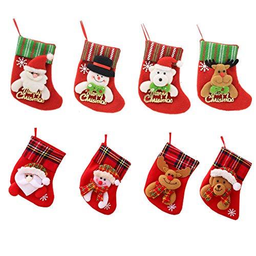Amasawa 8 Stück Weihnachtsstrümpfe Socken Weihnachtsdeko Weihnachten Bestecktasche Besteckhalter Weihnachtsbaumschmuck Tischdekoration