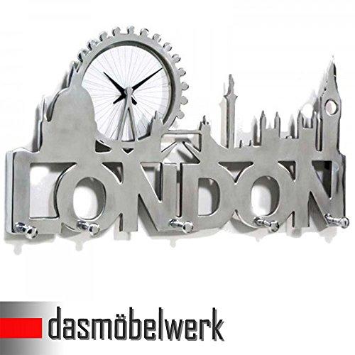 dasmöbelwerk Hakenleiste mit Uhr LONDON 5 Haken Wandgarderobe Kleiderhaken Flur Garderobe