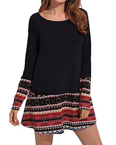 Cnfio Damen Herbst Elegant Casual Langarm Sweatshirt mit Tasche Pulli Kleider (XL, schwarz) (Kleid Stripe Casual)