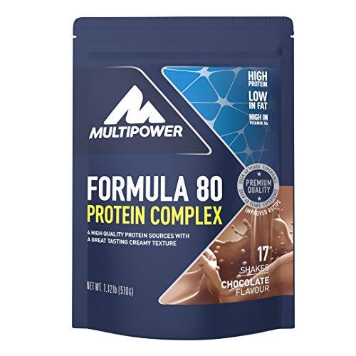 Multipower Formula 80 Protein Complex – Mehrkomponenten Protein Pulver für den Muskelaufbau – Proteinpulver mit Casein für eine langfristige Versorgung – mit cremigem Schokoladen Geschmack – 510 g